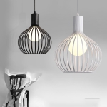 YWXLight LED Industrial Chandelier Creative Birdcage Chandelier With E27 Bulb Suitable For Kitchen Restaurant (Color:Black Size: + Warm White)