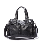 PU Leather Shoulder Travel Bag Leisure Sport Handbag (Black)