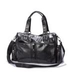 PU Leather Shoulder Travel Bag Leisure Sport Handbag (Black)