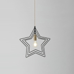 YWXLight Modern Nordic Chandelier Star LED Lighting E27 Bulb For Restaurant Living Room Bedroom (Black)