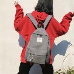 Double Shoulders School Backpack Travel Bag (Dark Grey)