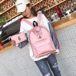 Canvas School Backpack Casual Handbag Double Shoulder Bag (Pattern 1)