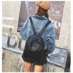 PU Leather School Backpack Casual Handbag Double Shoulder Bag (Black)