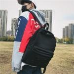 Double Zipper Design Double Shoulders School Bag Travel Backpack Bag (Black)