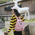 Cotton Velvet Double Shoulders School Bag Travel Backpack Bag (Pink)