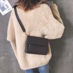Solid Color Casual PU Shoulder Bag Ladies Handbag Messenger Bag (Black)