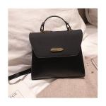 Solid Color Casual PU Leather Shoulder Bag Ladies Handbag Messenger Bag (Black)