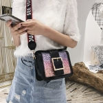 Casual PU Leather Rainbow Sequin Shoulder Bag Ladies Handbag (Black)