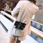 Marble Texture Casual Shoulder Bag Messenger Bag Ladies Handbag (Black)
