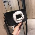 Fashion Shiny Casual PU Leather Handbag Single Shoulder Bag (Black)