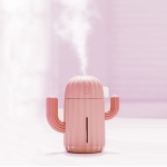 Cactus Shape Silicone Portable Mute Desktop Air Humidifier with Night Light, Capacity: 340ml, DC 5V (Pink)