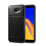Dibase 2 in 1 Crazy Horse Texture PU Leather Case for Galaxy J4 Plus 2018, with Holder & Card Slot (Black)
