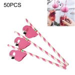 50 PCS 3D Flamingo Pink Jungle Paper Straws Birthday Wedding Party Decorations Cocktail Straw