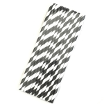 50PCS Degradable Color Environmental Protection Striped Paper Straw Disposable Kraft Paper Straw (Black)