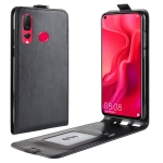 R64 Texture Vertical Flip Leather Case For Huawei nova 4, With Card Slots & Photo Frame (Black)