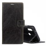 Retro Crazy Horse Texture Horizontal Flip Leather Case for Motorola MOTO P40, with Wallet & Holder & Card Slots & Photo Frame (Black)