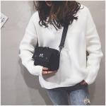Canvas Letter Shoulder Bag Shoulder Messenger Bag Ladies Small Backpack (Black)