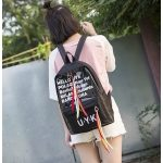 Jelly Color Clear Alphabet Double Shoulders Backpack School Bag (Black)