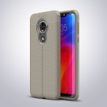 Litchi Texture TPU Shockproof Case for MOTO E6 (Gray)