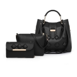 3 In 1 PU Leather Women's Handbag Single-shoulder Bag for Working Or Travlling (Black)