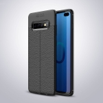 Litchi Texture TPU Shockproof Case for Galaxy S10+ (Black)