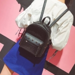 Cute Glitter Bling Backpack Rivet PU Leather Double-shoulder School Bag (Black)