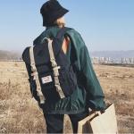 Splicing Large-capacity Backpack College Waterproof Couple Shoulder Bag (Black)