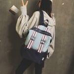Splicing Waterproof Oxford Cloth Girl Backpack Casual School Bag (Pink Blue)