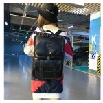 Retro Large Capacity PU Leather Couple Backpack Travel Bag (Black)