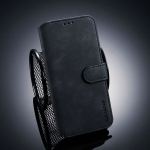 DG.MING Retro Oil Side Horizontal Flip Case for  Xiaomi 8 Lite , with Holder & Card Slots & Wallet (Black)