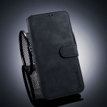 DG.MING Retro Oil Side Horizontal Flip Case for OnePlus 6T, with Holder & Card Slots & Wallet (Black)