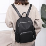 Solid Color Fashion Girls Backpack Waterproof Backpack Anti-theft Backpack (Black)