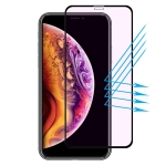 ENKAY Hat-prince Full Glue 0.26mm 9H 2.5D Curved Edge Anti Blue-ray Full Screen Tempered Glass Film for iPhone XS Max (Black)