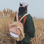 Splicing Color Backpack Girl Backpack Casual Bag Mountaineering Bag (Pink)