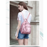 Fashion Casual Ladies Litchi Texture PU Leather Shoulder Bag Backpack Handbag (Pink)