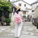 Waterproof Cap Oxford Cloth Double Shoulders School Bag Travel Backpack Bag(Pink)