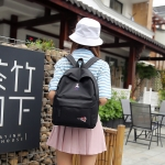 Leisure Fashion Nylon Double Shoulders Bag (Black)