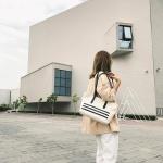 Leisure Fashion Canvas Shoulder Bag Handbag (Black)