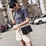 Leisure Fashion Marble Texture PU + Polyester Shoulder Bag Messenger Bag Handbag (Black)