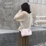 Leisure Fashion Pearl Buckle Plush Shoulder Bag Messenger Bag Handbag (Pink)