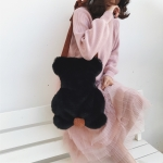 Leisure Fashion Bear Shape Plush Shoulder Bag Handbag (Black)