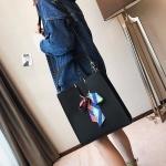 Leisure Fashion PU Shoulder Bag Messenger Bag Handbag (Black)