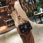 Leisure Fashion Gold Velvet Shoulder Bag Messenger Bag Handbag (Black)