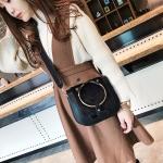 Leisure Fashion PU + Plush Shoulder Bag Messenger Bag Handbag (Black)