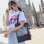 Leisure Fashion PU + Wool Shoulder Bag Handbag (Black)
