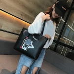 Leisure Fashion PU Shoulder Bag Handbag (Black)
