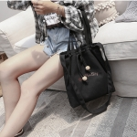 Leisure Fashion Slant Shoulder Bag Canvas Handbag(Black)
