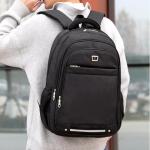 Double Shoulders School Bag Travel Backpack Bag, with Safety reflective strip(Black)