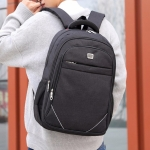 Double Shoulders School Bag Travel Backpack Bag, with Safety reflective strip (Black)