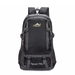 Nylon Double Shoulders School Bag Travel Backpack Bag (Black)